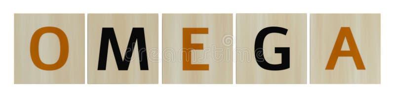 Houten blokjes met woordomega op witte achtergrond 3d renderen stock fotografie