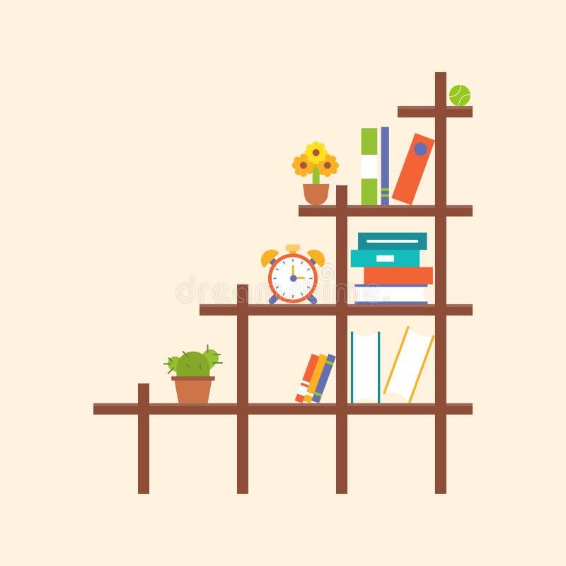 Houten boekenplank en element, vlak ontwerp vector illustratie