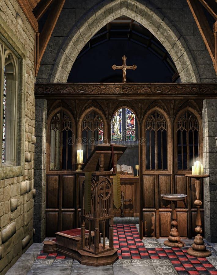 Houten boektribune in een kerk stock illustratie