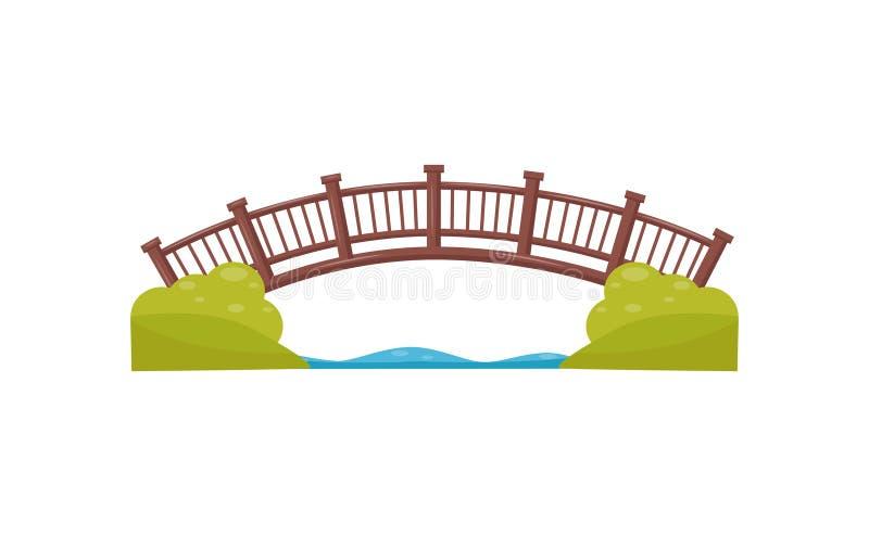 Houten boogbrug Gang over de rivier Voetgangersbrug van hout wordt gemaakt dat Vlak vectorelement voor kaart van stadspark vector illustratie