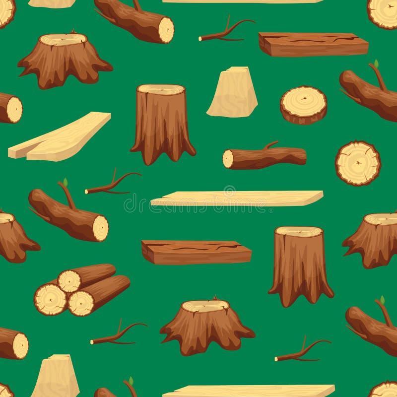 Houten Boomstammaterialen en Achtergrond van het Brandhout de Naadloze Patroon Vector stock illustratie