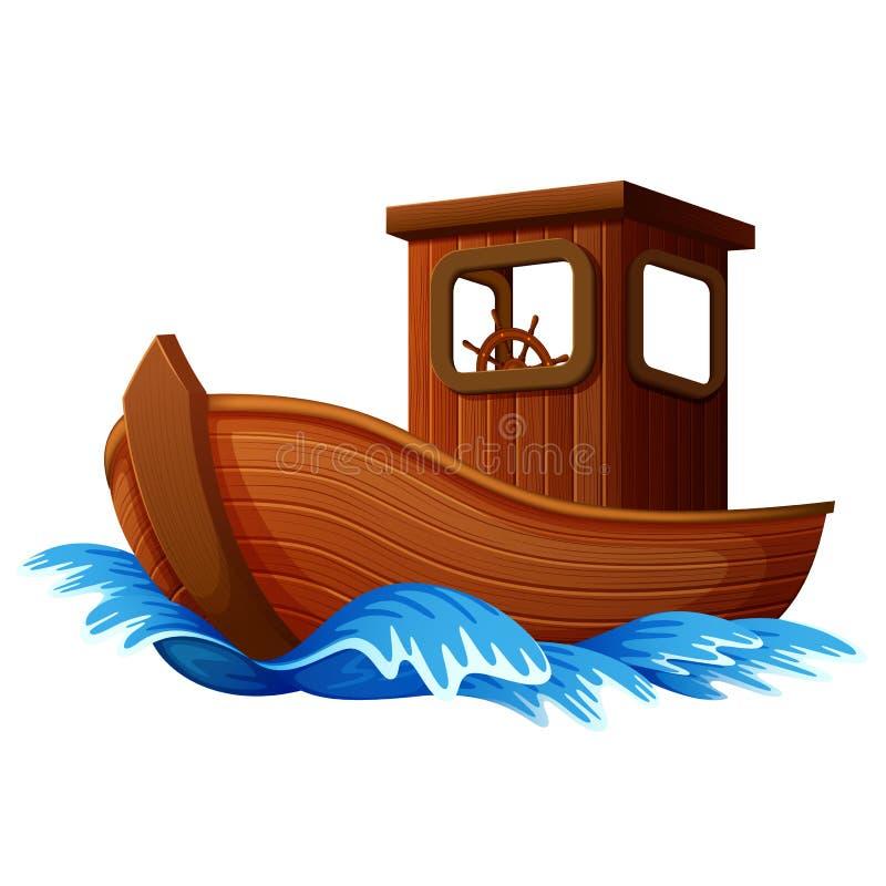 Houten boot die in de oceaan varen stock illustratie