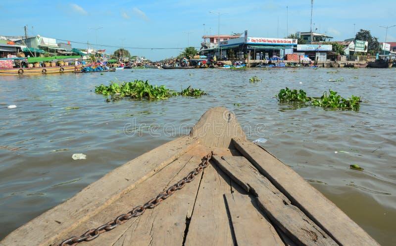 Houten boot op de rivier in een Giang, Vietnam royalty-vrije stock foto's