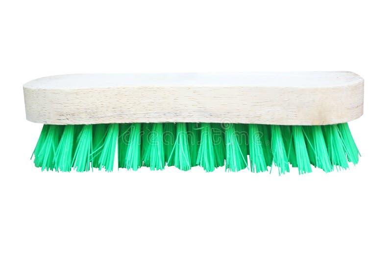 Houten borstel met groen varkenshaar voor het schoonmaken van kleren, die br wassen royalty-vrije stock foto's