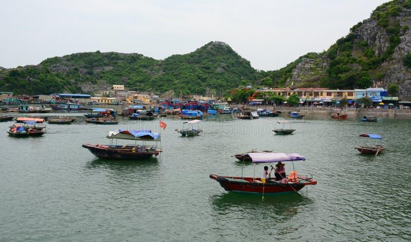 Houten boten die op rivier met moutainachtergrond ontspannen stock foto