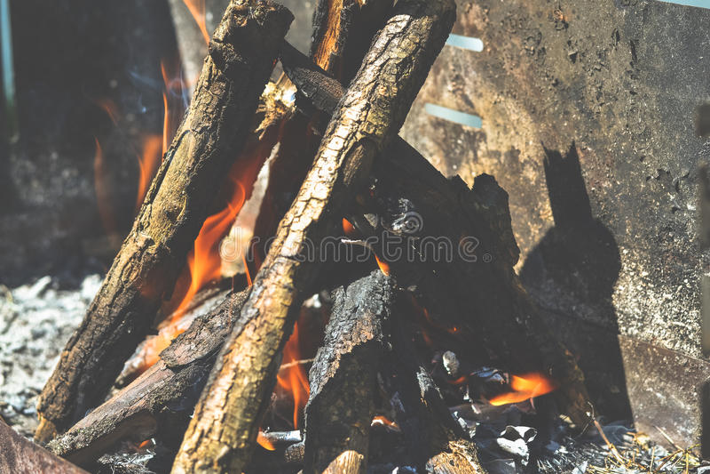 Houten brand royalty-vrije stock afbeeldingen