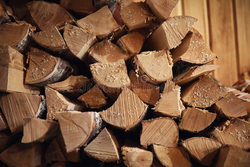 Houten Brandend Fornuis Brandhout voor oven het verwarmen Pakhuis voor stock afbeelding