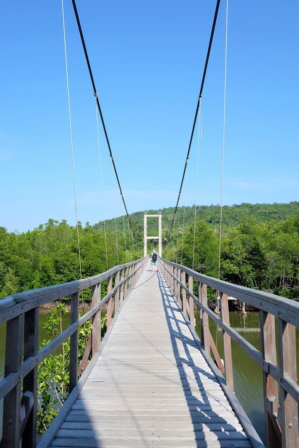 Houten bridgey over de rivier tegen blauwe hemel in heldere dag royalty-vrije stock fotografie