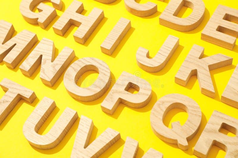 Houten brieven van Engels alfabet royalty-vrije stock fotografie