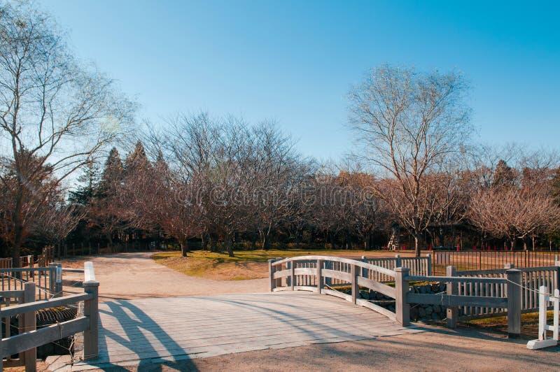 Houten brug in Boso Geen Mura Openluchtmuseum, Chiba, Japan stock foto