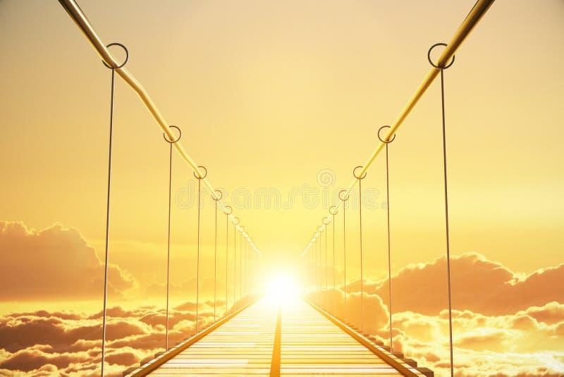 Houten brug in de wolken die naar zonsondergang gaan stock foto