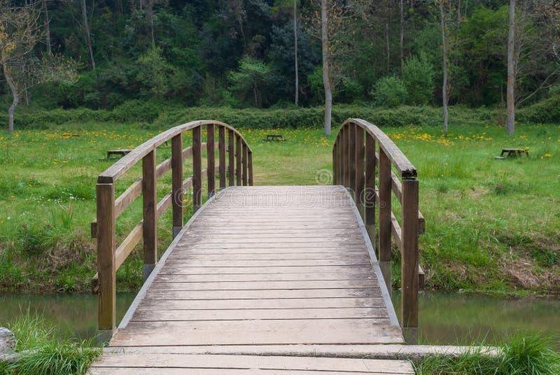 Houten brug over een kleine rivier met vegetatie stock afbeeldingen