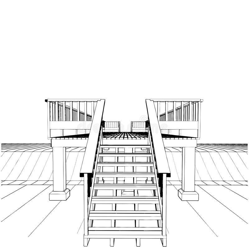Houten Brug over Vector 01 van het Kanaal stock illustratie