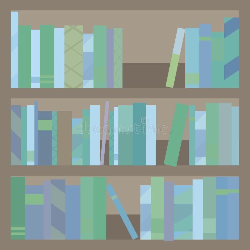 Houten bruine kast drie van de boekbibliotheek planken met multi-colored blauwachtig boeken en tijdschriften vectorklemart. vector illustratie