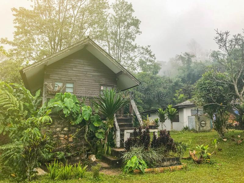 Houten cabine dichtbij de berg stock foto's