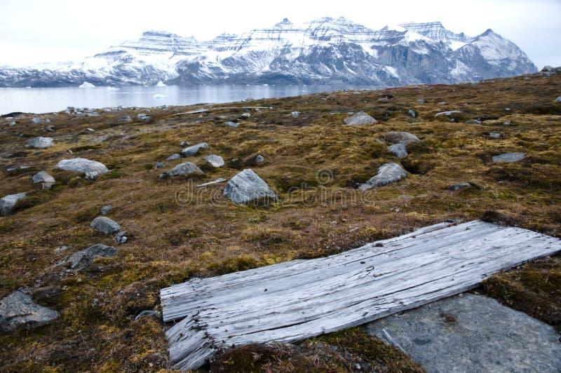 Houten Cabinedeur van WO.II-Buitenpost - Groenland royalty-vrije stock fotografie