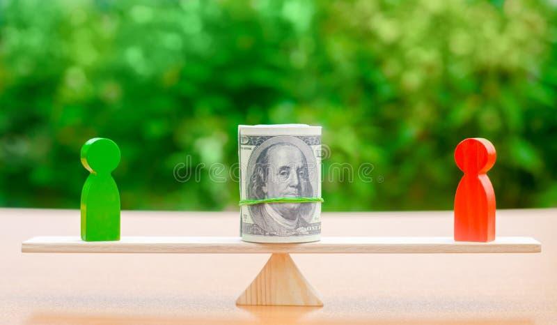 Houten cijfers van mensen op schalen en dollarsbankbiljetten tussen hen Het concept scheiding van geld Bezitsafdeling royalty-vrije stock afbeelding