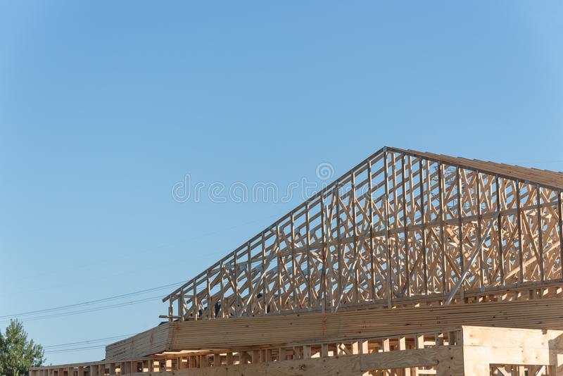 Houten commerciële bouwconstructie royalty-vrije stock foto's