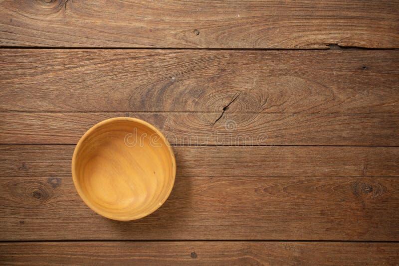 Houten cookware op Donkere oude houten van de lijsttextuur bovenkant als achtergrond royalty-vrije stock foto's