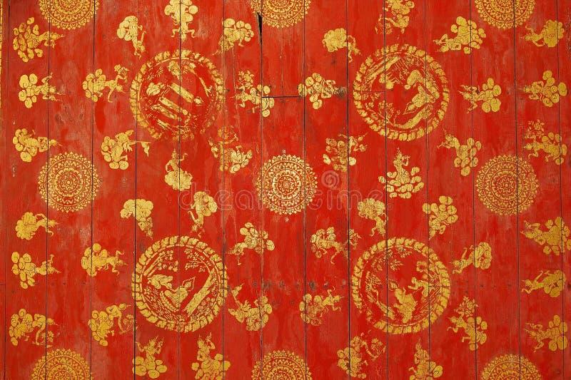 Houten dakdecoratie van de Wat Xieng Thong Buddhist-tempel in Luang Prabang, Laos royalty-vrije stock foto