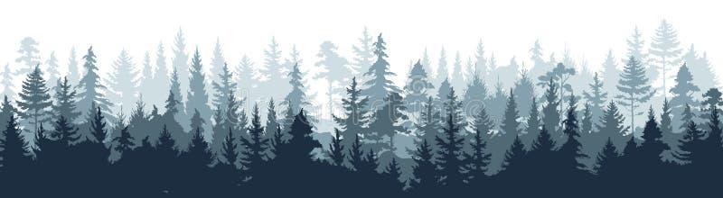 Houten de boomachtergrond van het pijnboom bossilhouet, wild aard boslandschap Vector mistige nevelige scène royalty-vrije illustratie