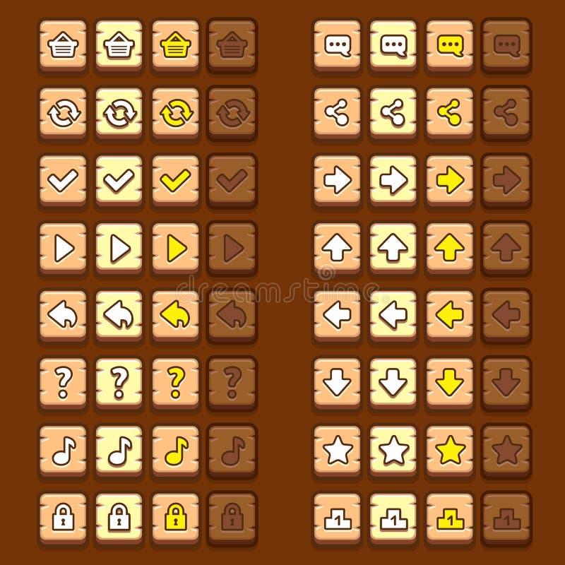 Houten de knopenpictogrammen van spelpictogrammen, interface, ui stock illustratie