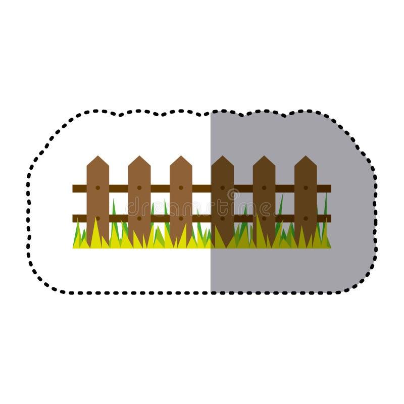 houten de omheining en het grasontwerp van het sticker kleurrijk beeld vector illustratie