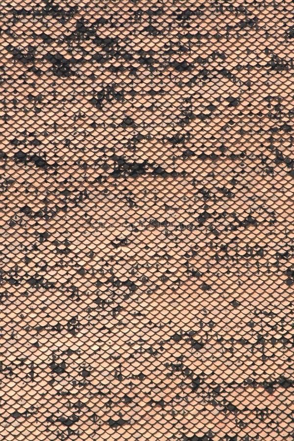 Houten de textuur oranje retro van de daktegel gestileerd als textuur en achtergrond royalty-vrije stock afbeeldingen