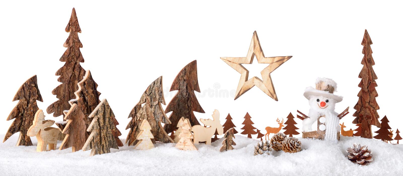 Houten decoratie als leuke de winterscène royalty-vrije stock afbeelding