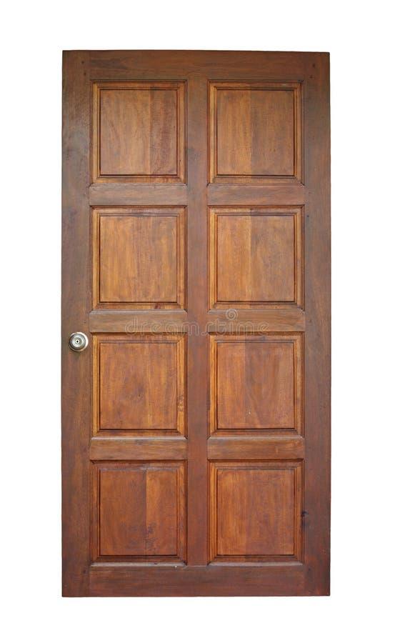 Houten deur die op wit wordt geïsoleerdm royalty-vrije stock afbeelding