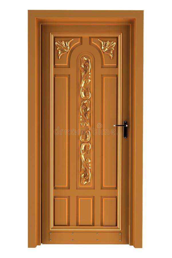 Houten deur die op witte achtergrond wordt geïsoleerde