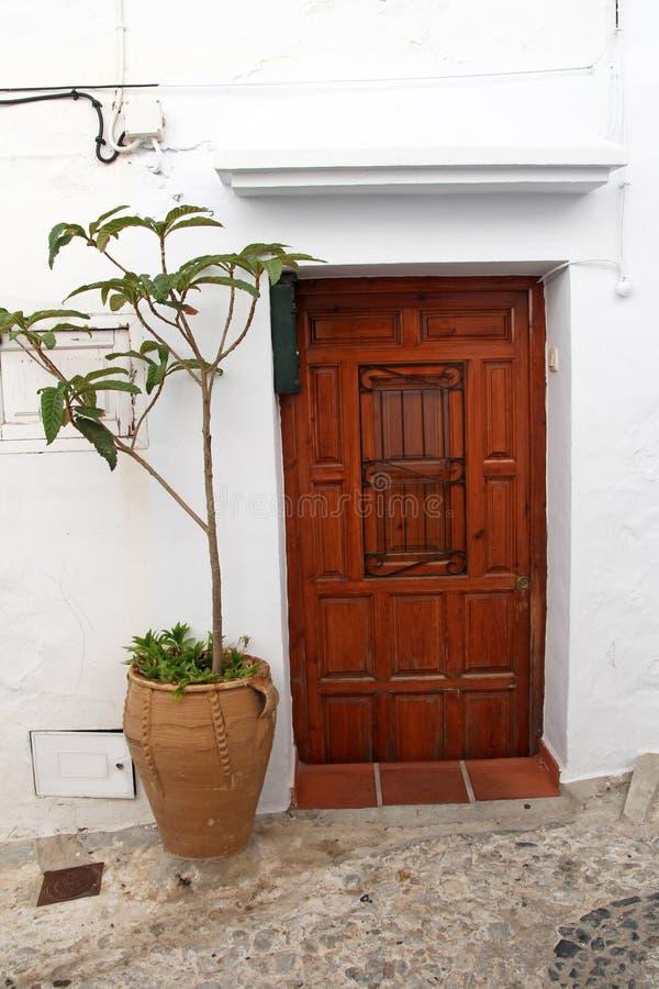 Houten deur en bloem in terracottabloempot royalty-vrije stock fotografie
