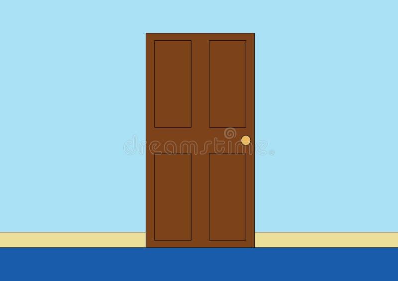Houten deur in vectorillustratie van het woonkamer de binnenlandse ontwerp vector illustratie