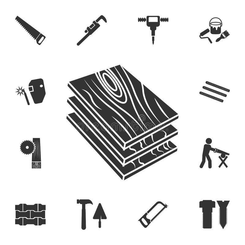 Houten Dict-pictogram Gedetailleerde reeks bouwmaterialenpictogrammen Het grafische ontwerp van de premiekwaliteit Één van de inz royalty-vrije stock afbeeldingen