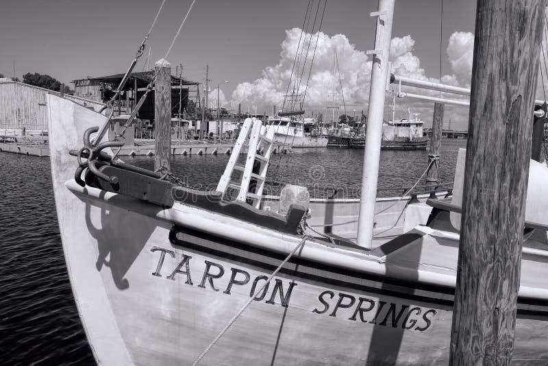 Houten die Boot bij de Tarpoenlentes wordt verankerd, Florida royalty-vrije stock foto's
