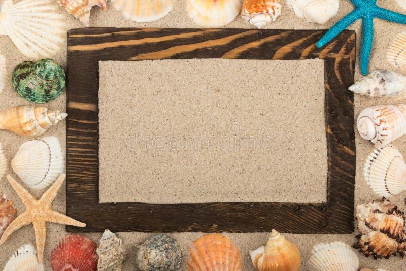 Houten die kader van hout onder shells en sterren, een plaats voor uw creativiteit wordt gemaakt royalty-vrije stock afbeeldingen
