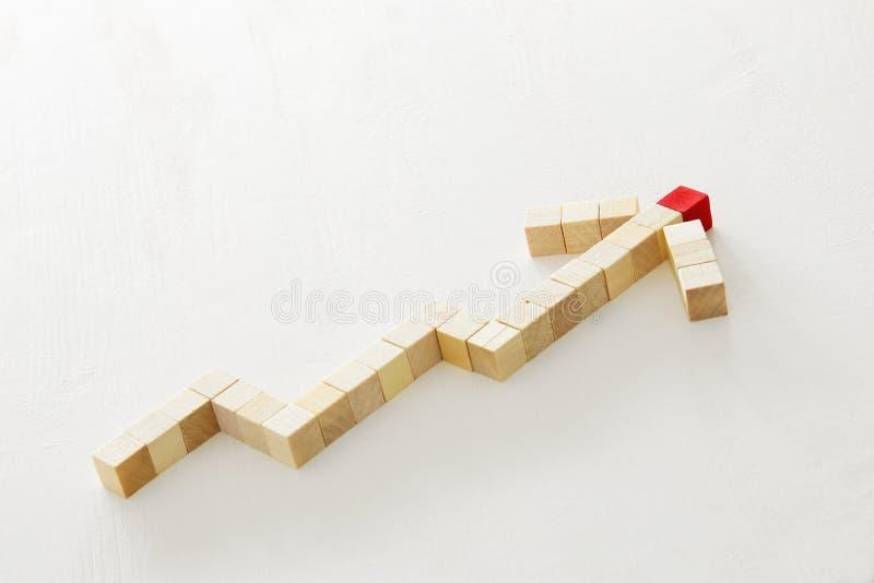 houten die kubussen als het kweken van grafiek, over witte geweven achtergrond worden gevormd royalty-vrije stock afbeeldingen