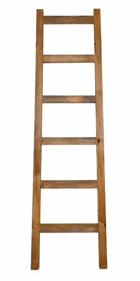 Houten die ladder op wit wordt geïsoleerd royalty-vrije stock afbeeldingen