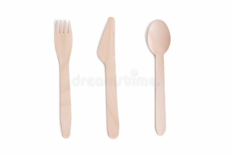 Houten die lepel, vork en mes op wit wordt geïsoleerd stock afbeeldingen