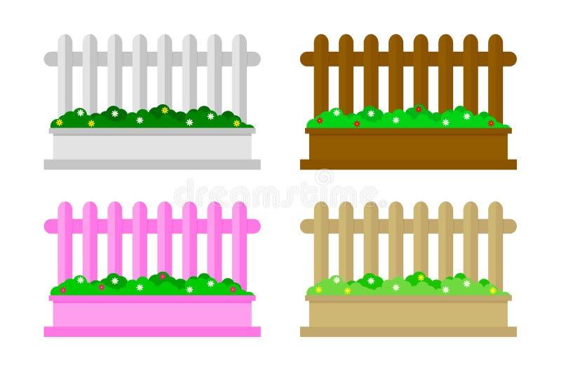 Houten die omheining met groen gras wordt geplaatst Omheining van het beeldverhaal de landelijke Houten landbouwbedrijf openlucht vector illustratie