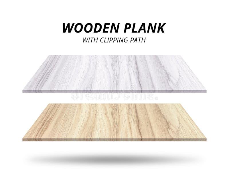Houten die planken op witte achtergrond worden ge?soleerd Het materiaal van de eiken houttextuur Knippende weg stock afbeelding