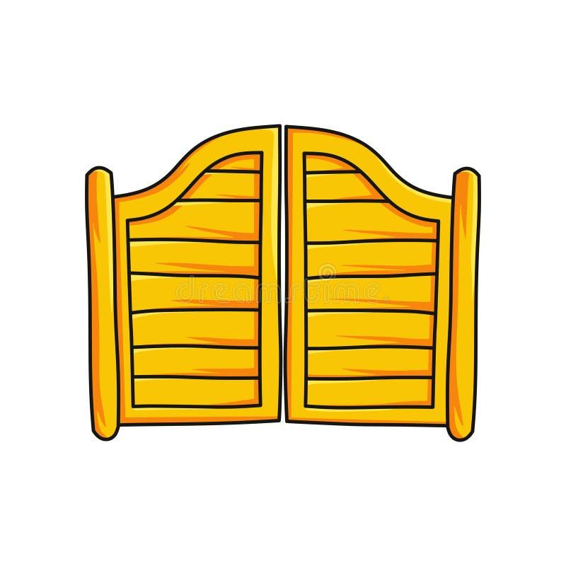 Houten die poort aan zaalbar op witte achtergrond wordt geïsoleerd royalty-vrije illustratie