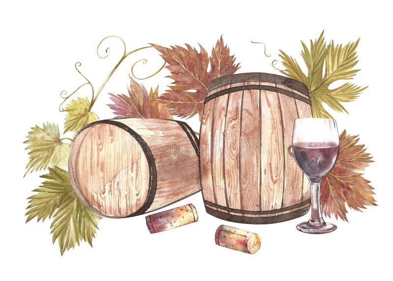 Houten die vaten en glazen wijn en bladeren van druiven, op wit worden geïsoleerd Hand getrokken waterverfillustratie stock illustratie