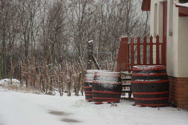 Houten die vaten met sneeuw worden behandeld stock fotografie