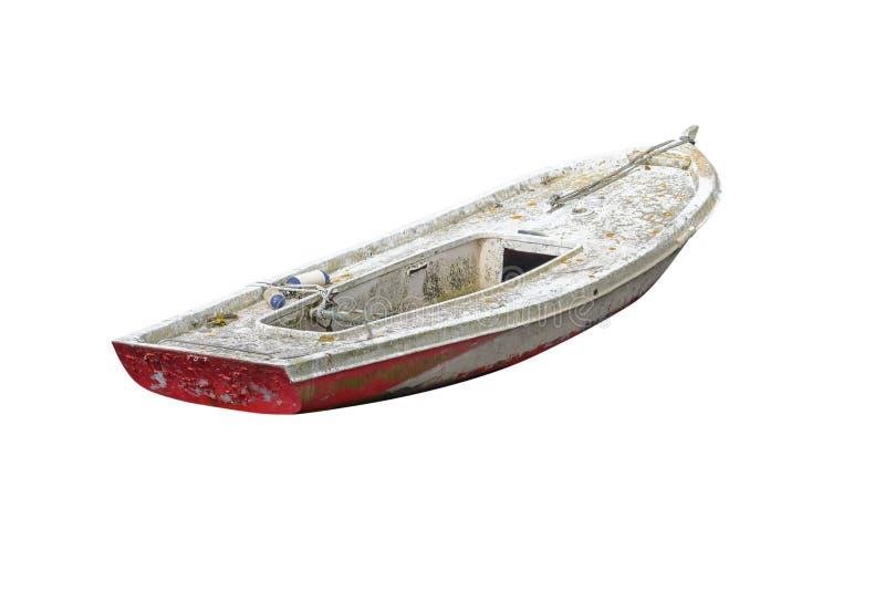 Houten die vissersboot op witte achtergrond wordt ge?soleerd stock foto's