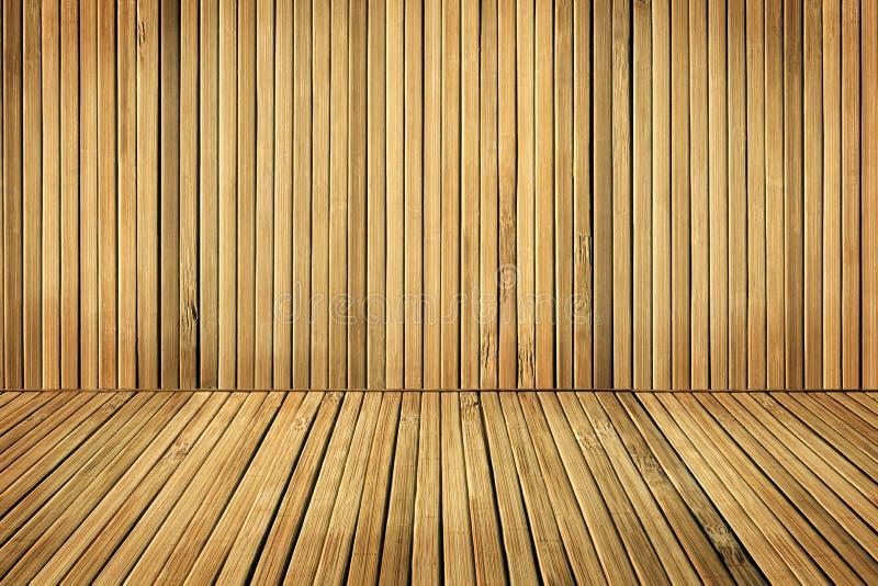 Houten die Vloer en Muurplanken, Zaal door Oude Bruine Plank wordt ingescheept stock foto