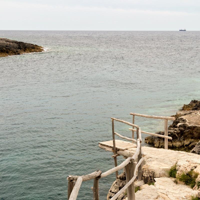 Houten dok en een verre kust royalty-vrije stock fotografie