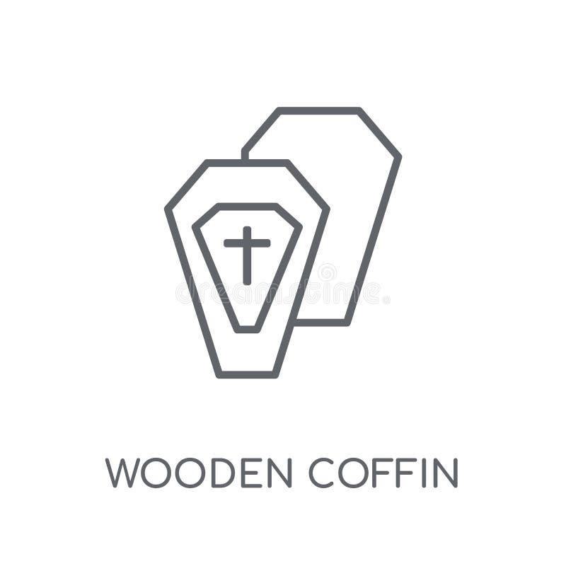 Houten Doodskist lineair pictogram Het moderne embleem van de overzichts Houten Doodskist bedriegt stock illustratie