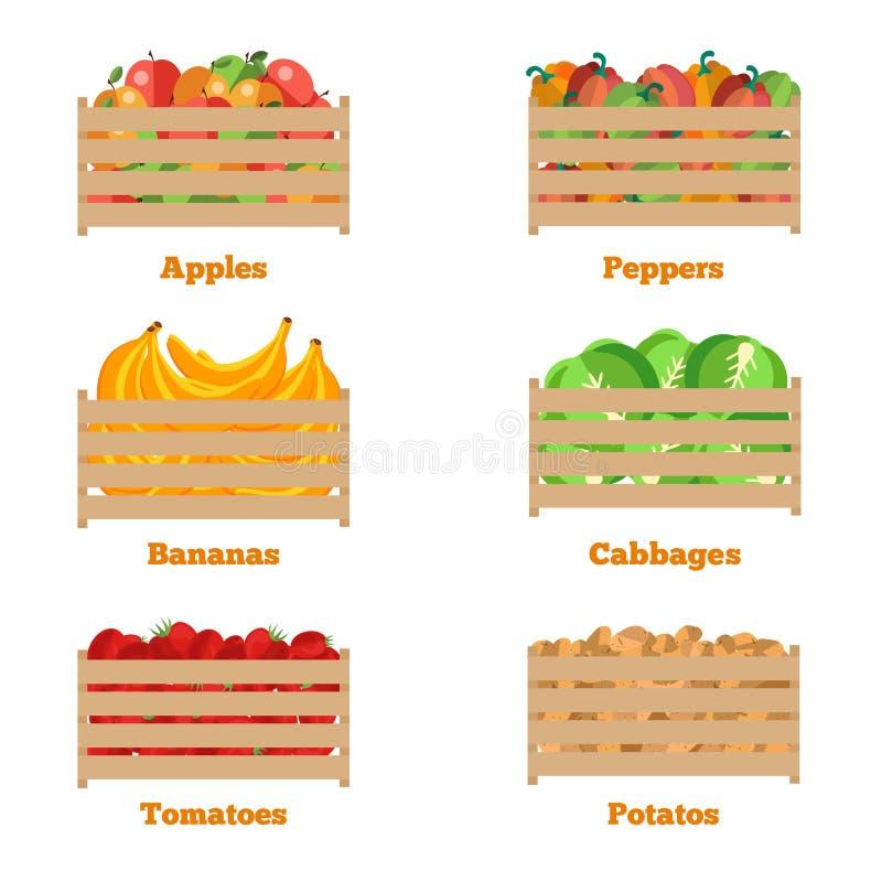 Houten doos met de herfstvruchten en groenten stock illustratie