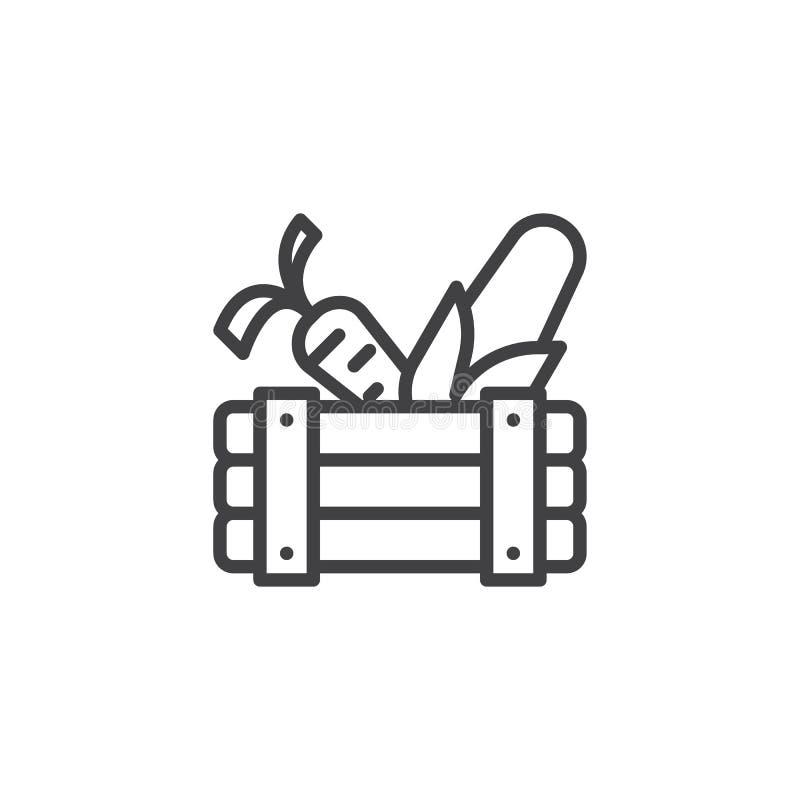 Houten doos met het pictogram van de groentenlijn royalty-vrije illustratie